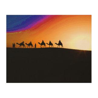 Desert Camel Train Wood Print