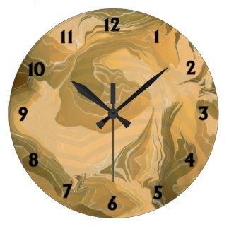 Desert Camo Design Black Numbers Large Clock