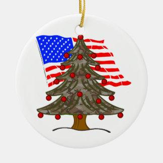 Desert Camouflage Christmas Tree w/American Flag Ceramic Ornament