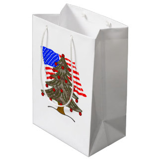 Desert Camouflage Christmas Tree w/American Flag Medium Gift Bag