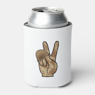 Desert Camouflage Hand Victory / Peace Sign Can Cooler