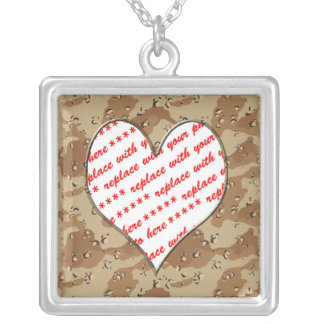 Desert Camouflage Heart Silver Plated Necklace
