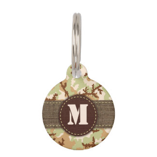 Desert camouflage pet name tag