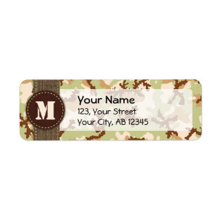 Desert camouflage return address label