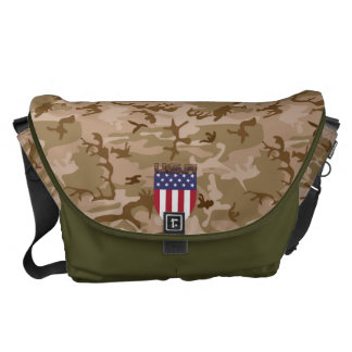 DESERT CAMOUFLAGE USA FLAG SHIELD ARMY STYLE COURIER BAG
