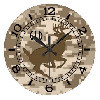 Desert Digital Camouflage Jumping Deer Monogram Large Clock