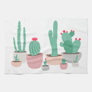 Desert Dreams Potted Cacti Kitchen Towel