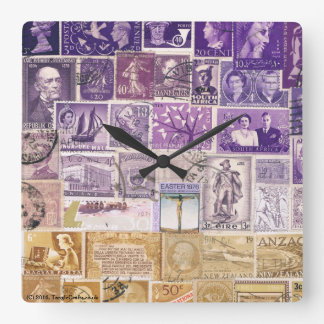 Desert Dusk Wall Clock, Postage Stamp Collage Art Wall Clocks