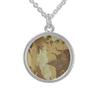 Desert eagle camouflage sterling silver necklace
