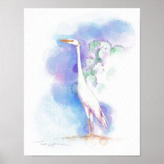 Desert Egret Watercolor Poster