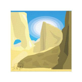 desert flat landscape abstract yellow canvas print