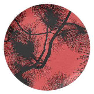 Desert flora stencil flowers at night pattern dark party plates