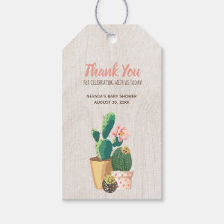 Desert Flower & Rose Gold Glitter Thank You Gift Tags