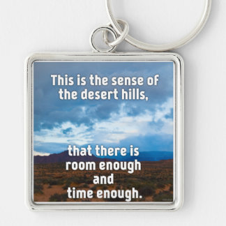 Desert Hills Silver-Colored Square Keychain