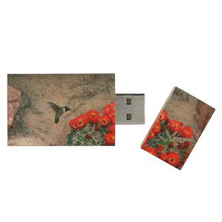 Desert Hummingbird Wood USB 2.0 Flash Drive