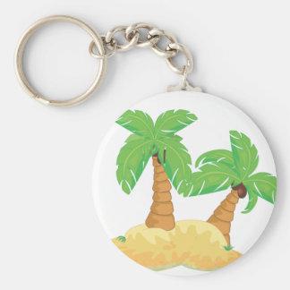 Desert Island Basic Round Button Keychain