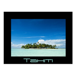 Desert island in the pacific black Tahiti postcard