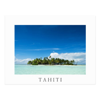 Desert island in the pacific white text postcard