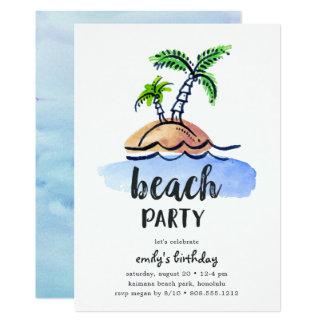 Desert Island   Summer Beach Party Invitation