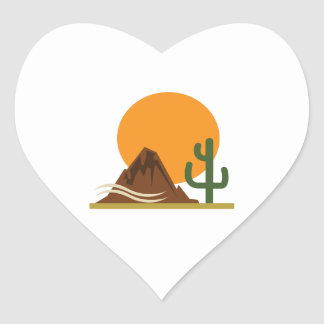 DESERT LANDSCAPE HEART STICKER