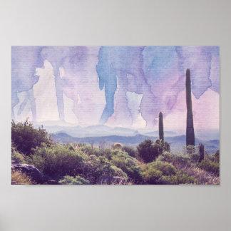 Desert Landscape - Watercolor Sky | Poster