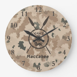 Desert Maccabee Shield And Spears Large Clock