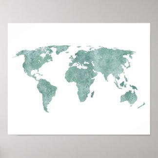 Desert mint green Watercolor World map Poster