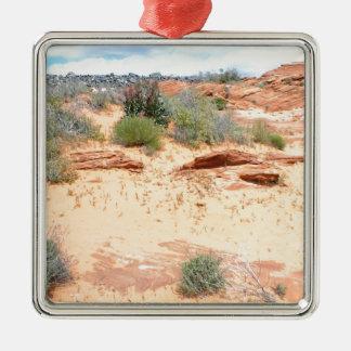 Desert of Red Sand Silver-Colored Square Ornament
