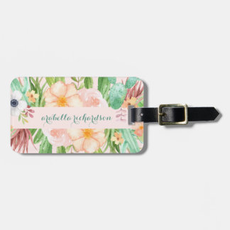 Desert Pink Succulent Flowers Luggage Tag