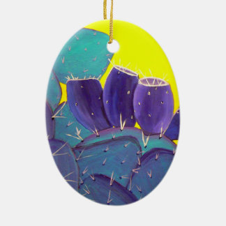 Desert Prickly Pear with Fruit Ceramic Ornament