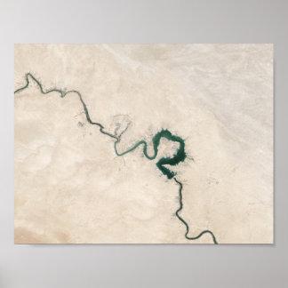 Desert River Aerial Crack Poster