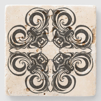 Desert Rose Black Intricate Pattern Stone Coaster