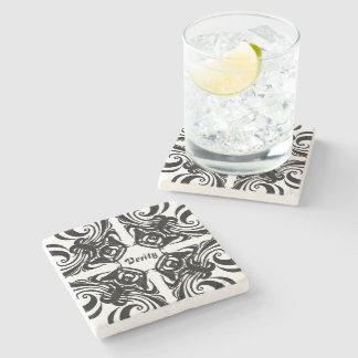 Desert Rose Black Intricate Pattern with text Stone Coaster
