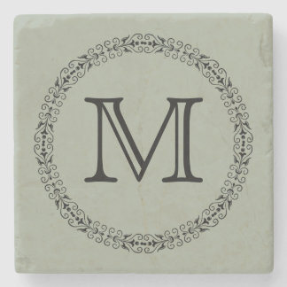 Desert Sage Gray Green Trendy Solid Color Monogram Stone Coaster