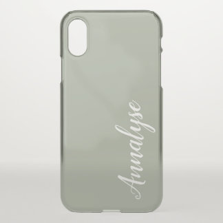 Desert Sage Grey Green Solid Color Custom iPhone X Case
