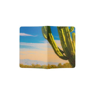 Desert Saguaro Cactus Old West Cartoon Style Passport Holder