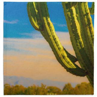 Desert Saguaro Cactus on Blue Sky Cloth Napkin