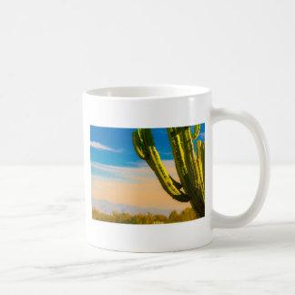 Desert Saguaro Cactus on Blue Sky Coffee Mug