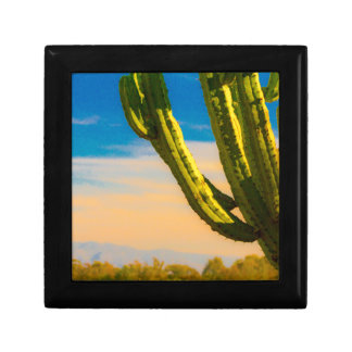 Desert Saguaro Cactus on Blue Sky Gift Box