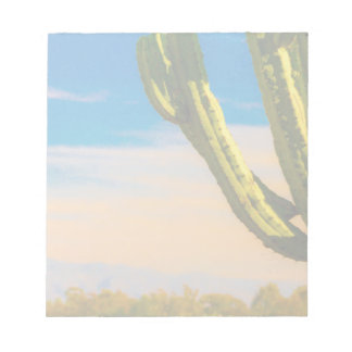 Desert Saguaro Cactus on Blue Sky Notepad