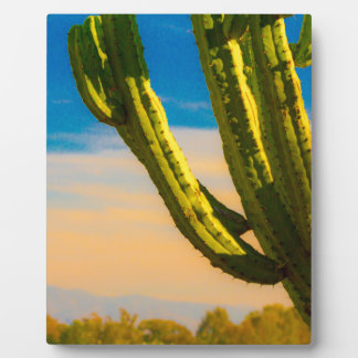 Desert Saguaro Cactus on Blue Sky Plaque