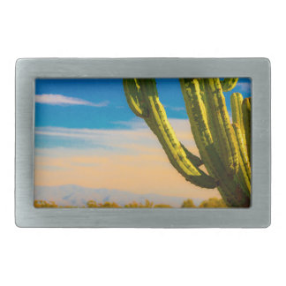Desert Saguaro Cactus on Blue Sky Rectangular Belt Buckles