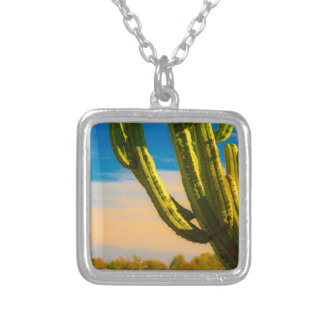 Desert Saguaro Cactus on Blue Sky Silver Plated Necklace
