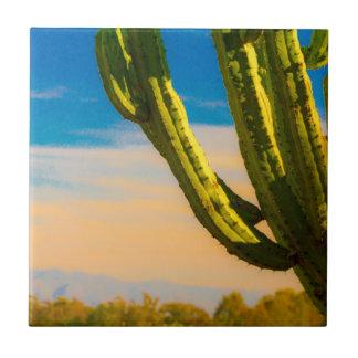 Desert Saguaro Cactus on Blue Sky Tile