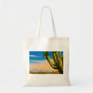 Desert Saguaro Cactus on Blue Sky Tote Bag