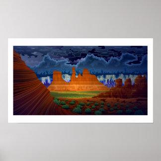Desert Scene landscape at night poster art