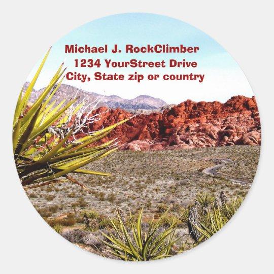 Desert Scenery Address Classic Round Sticker