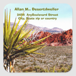 Desert Scenery Cacti  Return Address Square Sticker