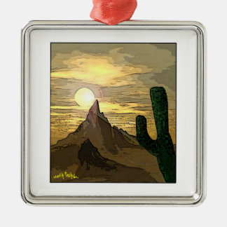 Desert Scenic Silver-Colored Square Ornament