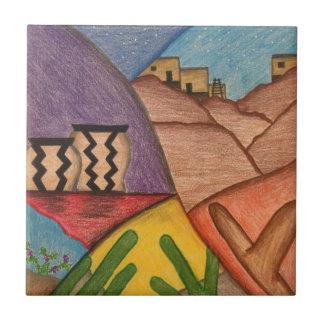 Desert Southwest Folk Art Ceramic Tile